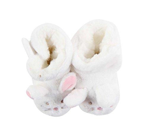 Chausson hiver intérieur fourrés motif souris - bébé fille (6-12 mois, rose poudré) blanc
