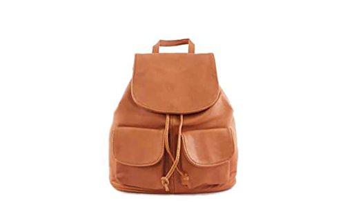 Geprägte Leder Schulranzen (DesiDo® Vintage Lederrucksack Rucksack aus Leder mit zwei Vordertaschen Daypack Schulranzen in braun, beige, schwarz (Cognac))