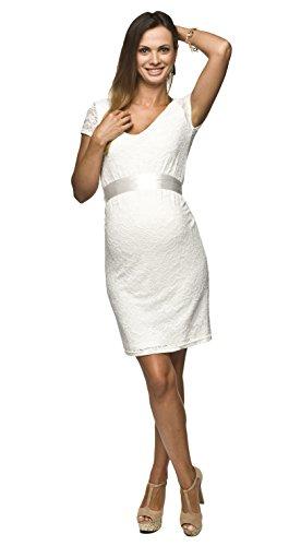 Festliches weißes Schwangerschaftskleid für Hochzeit mit Spitze knielang und kurzen Ärmeln