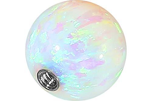 PIERCINGLINE Universelle Schraubkugel mit Innengewinde | SYNTHETISCHER Opal | Piercing ✔ Aufsätze ✔ Kugel ✔ Ersatz ✔ | Farb & Größenauswahl