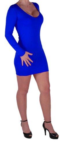 Eyecatch - Rachel Damen Mit V-Ausschnitt, Figurbetontes Stretch Short Frauen Minikleid Konigsblau