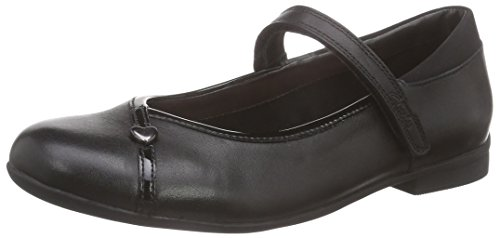 Clarks Dolly Babe Jnr, Ballerines fille Noir (Black Leather)