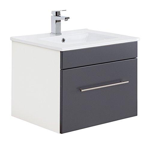 Posseik Badmöbelserie VIVA 60 Waschplatz, Anthrazit + Weiß, Waschtisch 61,5  cm breit Keramik Waschbecken