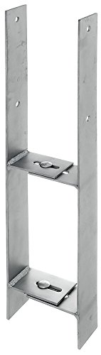 GAH-Alberts 213701 H-Pfostenträger, verstellbar - Edelstahl, Gesamthöhe: 600 mm, Materialstärke: 4 mm, lichte Breite: 91 - 141 mm