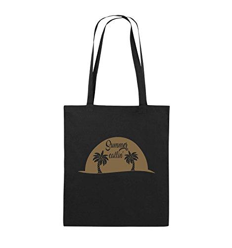 Comedy Bags - Summer callin - PALMEN - Jutebeutel - lange Henkel - 38x42cm - Farbe: Schwarz / Pink Schwarz / Hellbraun