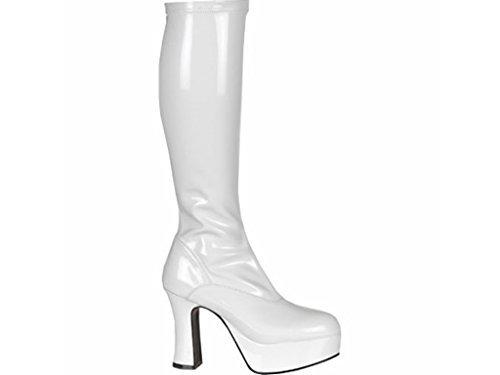 Gogo Weißes Kostüm Stiefel - Kostüm Kniehoch Plateau Stiefel 60s 70s Retro Look GoGo-Stiefel - Weiß, 5