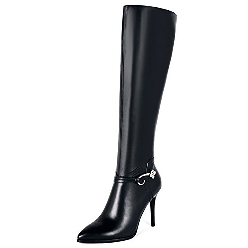 Damen Knee Stiefel,MERUMOTE Leder Schuhe Thin Heels Spitze Kniehohe Stiefel Schwarz 38.5 EU
