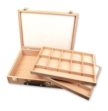 Loxley 360 x 280 x 80 mm Hardwood Epworth Artist Wooden Storage 2-Tray Pastel Box, Natural