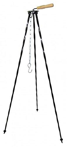 OUTDOOR-KESSELN Dreibein, 120 oder 150cm, lackiert schwarz oder hammerith goldbraun (150, schwarz) (Kessel Grillrost)