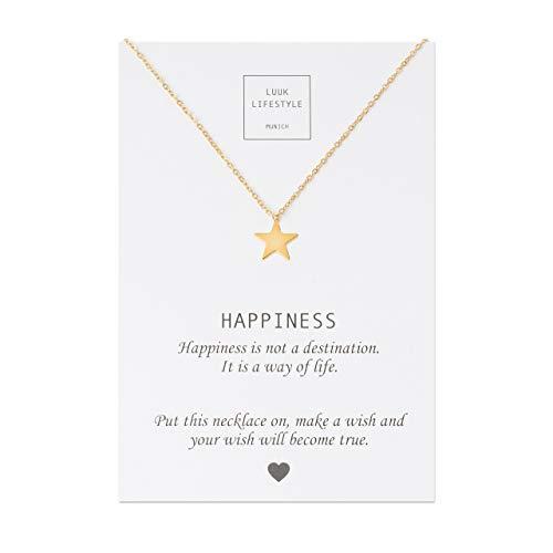 LUUK LIFESTYLE Edelstahl Halskette mit Stern Anhänger und Happiness Spruchkarte, Glücksbringer, Damen Schmuck, ()