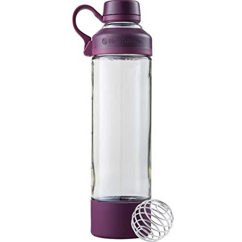 BlenderBottle Mantra Glas Shaker/Protein Shaker/Wasserflasche/Fitness Shaker/BPA frei/mit BlenderBall / 600ml - plum