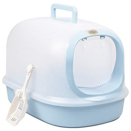 AUMING Katzentoilette DAMA für Raumecken Double Layer Katzenstreupfanne mit Kapuze Katzentoilettensystem mit Vordertür und Spritzschutz (Farbe : Blau, Größe : 39 * 56 * 37cm) (Double-layer-kapuze)