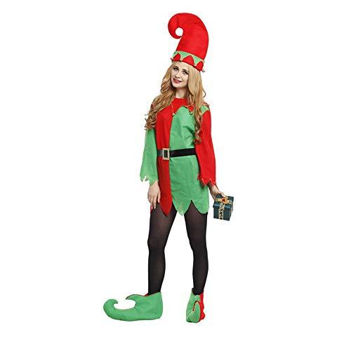 Kostüm Erwachsene Helfer Für Santas - Wanlianer Weihnachtsmann-Kostüm Kostümmädchen Santa Helfer Elf Erwachsene Kostüm Weihnachtsfest Kostüm