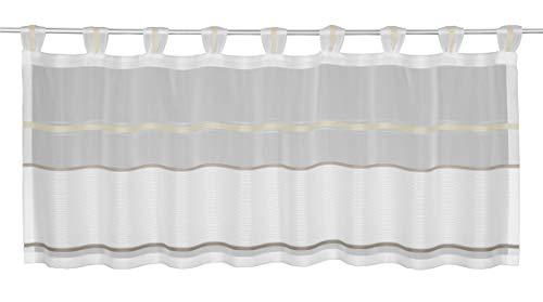 NOVUM fix Kurz & Bistrogardine mit Schlaufen Elegante halbtransparente Webtechnik mit Dezenten Streifen Ecru 45 x 140 cm (H x B)