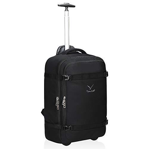Große Rollen Rucksack (Hynes Eagle 42L Trolley Rucksack Reisetasche mit Rollen Handgepäck Handgepäckkoffer für Damen und Herren Schwarz)