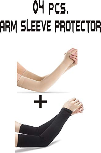 UV Protection Fingerless Arm Sleeve for Men and Women (Skin and Black) -4 Pieces