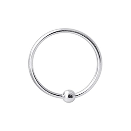 8MM Durchmesser - Captive Bead Hoop Nase Ring 925 Sterling Silber Nase Piercing Ring
