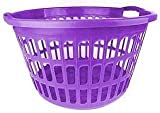 Plastic Circular Round Style Washing Linen Laundry Basket Choice Of Colours (Purple)