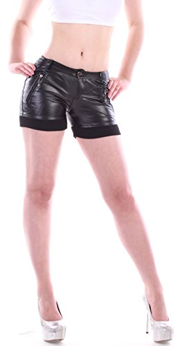 Damen Hotpants Shorts Lack Leder-Optik Model-1