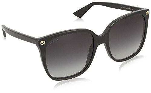 Gucci Damen GG0022S 001 Sonnenbrille, Schwarz (Black/Grey), 57