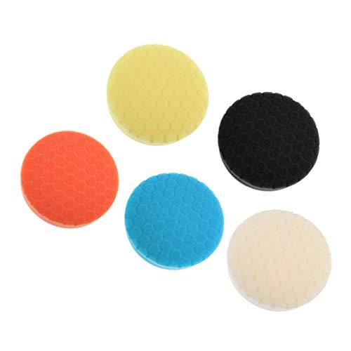 Fenteer 5er / Set Polierpad Polierauflage Polieraufsatz 5 Farben für Auto Polierer Poliermaschine Akkuschrauber - 5 Zoll (Winkelschleifer 5 Zoll)