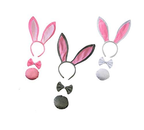 hren Haarbänder für Hochzeit Party Cosplay Kostüm 3 Sets Rosa, Grau, Weiß ()