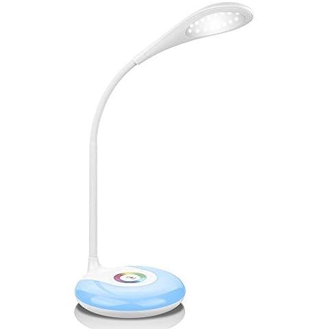 LOTOS® Toque Control de Escritorio ligera atenuación de Promise colorido base de lámpara de mesa, Ojo-Protección plegable cuello de cisne puede flexión LED lámpara de mesa