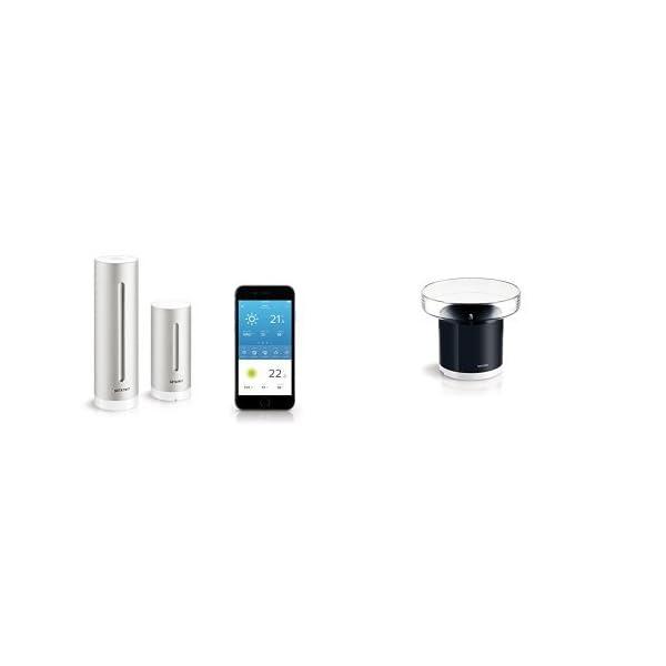 Pack Netatmo Weather Station Indoor Outdoor with Wireless Outdoor Sensor + Rain Gauge - Compatible with Amazon Alexa