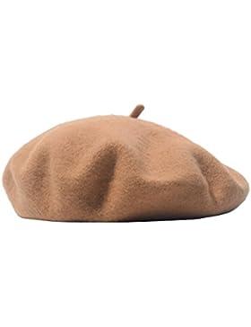 Berretto donna tinta unita caldo francese cappello di lana berretto per l'autunno inverno