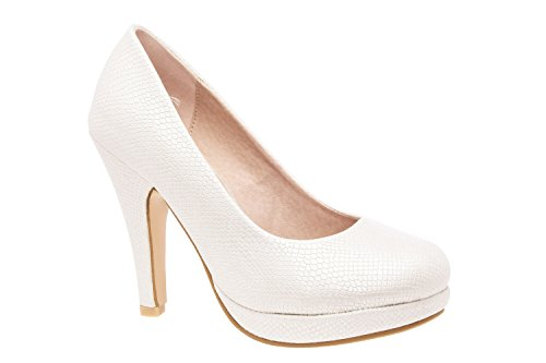 AM554 - Andres Machado - Plateau-Pumps in Soft Taupe Braut Gravur Weiss