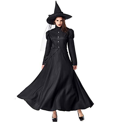 Kostüm Zauberer Von Oz Hexe - Erwachsenes Kind Halloween-KostüM BüHnenperformance Der Zauberer Von Oz Cos Schwarz Hexe Lange ÄRmel Robe Hexe Spielt Eltern-Kind-Kleidung