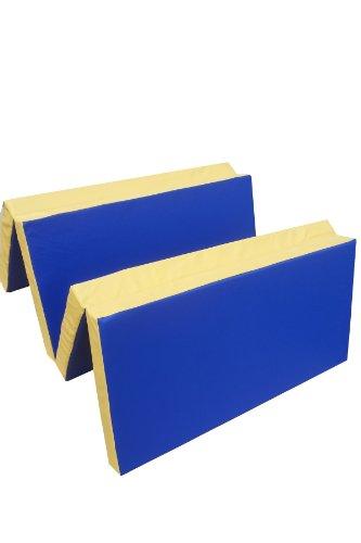 Niro Sportgeräte Turnmatte Weichbodenmatte Klappbar, Blau/Gelb, 200 x 100 x 8 cm, TM9