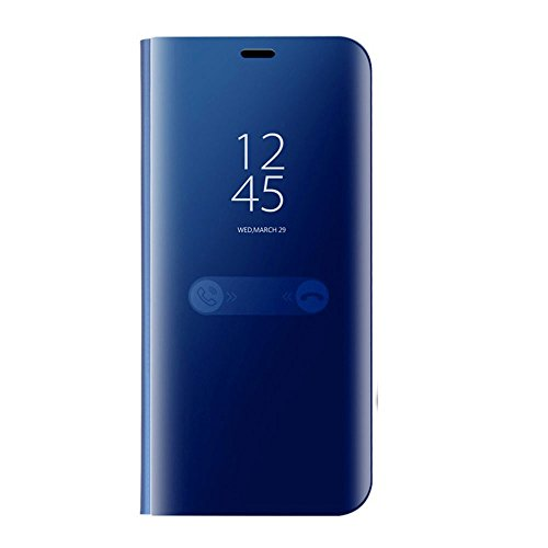 Auntwhale Samsung S9 Case Eingebauter Ständer Clear Smart View Anti-Drop Shell für Samsung S9 Case Fingerabdruckfest, schweißresistent. Bietet Schutz vor Kratzern, Stößen, Schmutz, Fett - Himmelblau -