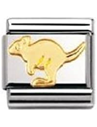 Nomination Composable Classic Land Animals Panda Stainless Steel, Enamel and 18K Gold