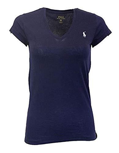 Ralph Lauren Frau Polo Pony Logo mit V-Ausschnitt T-Shirt Newport Navy Klein