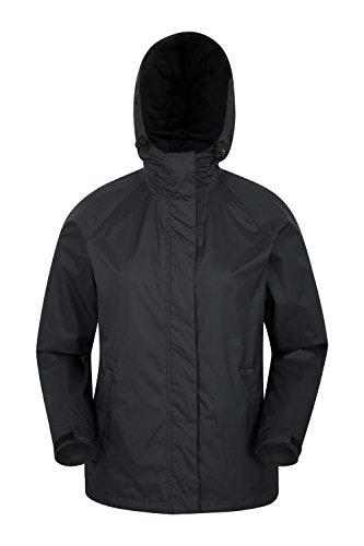 Mountain Warehouse Torrent Jacke für Damen - Wasserfester Regenmantel, leichter Mantel, versiegelte Nähte, Damenjacke mit Taschen - Ideal für Reisen, Camping Schwarz DE 42 (EU 44)