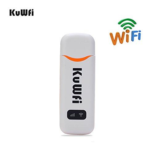 KuWFi LTE Surfstick, 100Mbps USB Dongle 4G/3G Auto WiFi Router Wireless Netzwerk Hotspot Mit SIM Karte Slot Arbeiten Sie mit O2/Telekom/Vodafone SIM Karte (SIM Karte nicht im Lieferumfang - Usb-4g-lte-modem