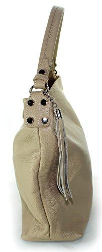 Ital Echt Leder Ledertasche Damentasche Umhängetasche Schultertasche Tragetasche (hellgrau) beige