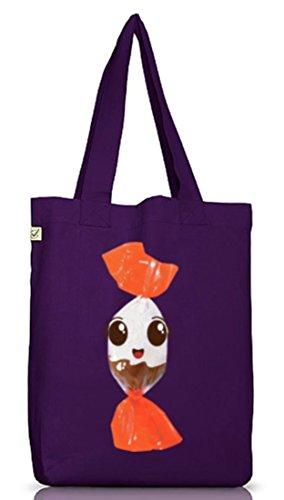 Jutebeutel Tragetasche süßes Schokolade BonBon Partner Kostüm für Fasching Karneval für Naschkatzen Dark Violet