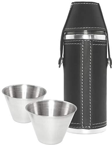 Outdoor Saxx® - 3-teiliges Leder Flachmann Set, 230 ml Schnaps-Flasche und 2 Schnaps-Becher aus Edelstahl in praktischem Set, Tolle Geschenk-Idee, schwarz (Schnaps-korb-ideen)