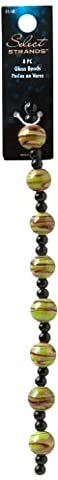 Plaid Select Strands Classic Jewelry Swirl Round Glass Beads, 3415 Green (8-Piece)