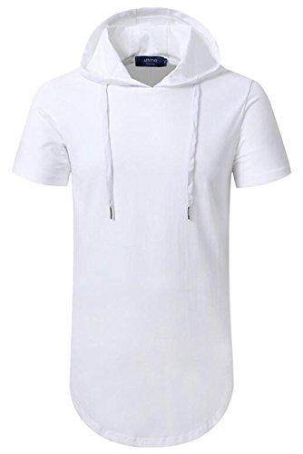 AIYINO Herren Hip Hop Longline Pullover kaufen kurzarm shirt (M, Weiß)