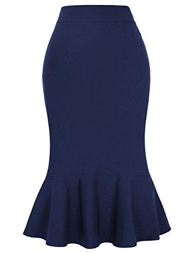 Femme Jupe en Queue de Poisson Sirène Taille Haute Marine Bleu XXL KK241-5