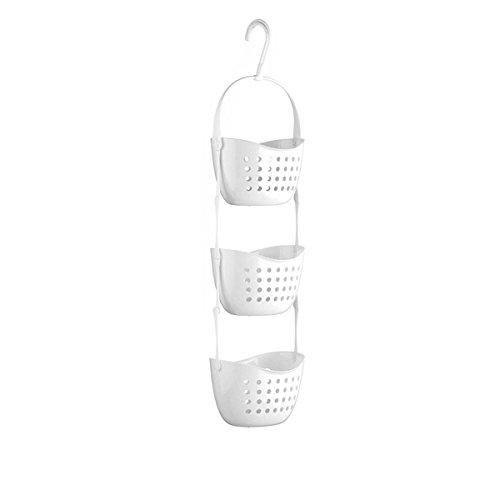 ounona 3Etagen zum Aufhängen Obstkorb Gemüse Küche Aufbewahrungskorb Badezimmer Dusche Caddy für Badezimmer Küche benutzen, (weiß) (3-tier-draht-körbe)