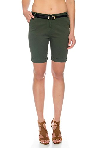 Kendindza Damen Sommer Shorts | kurze Chino Hose | Bermuda mit Gürtel (Khaki, M) (Streifen-bermuda-shorts)