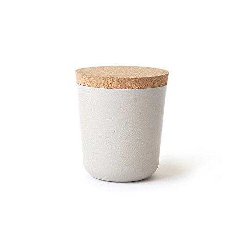 EKOBO Vorratsdose Gr. L, zur Aufbewahrung von Gewürzen, Kaffee, Tee und mehr, aus Bambus und Melamin mit Deckel aus Naturkork, Vol. 450 ml, Durchmesser 9,5 x Höhe 11 cm -