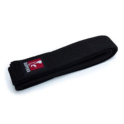 Supera Kampfsport Gürtel Längen. Karate Gürtel aus extra dickem Stoff. Taekwondo Gürtel für Kinder und Erwachsene - Budogürtel, Farbe:schwarz, Größe:320 cm