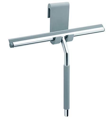 Libaro Duschabzieher aus Edelstahl mit Halterung | Duschwischer mit 26cm Silikonlippe | Fensterabzieher für Bad, Dusche, Fliesen, Fenster