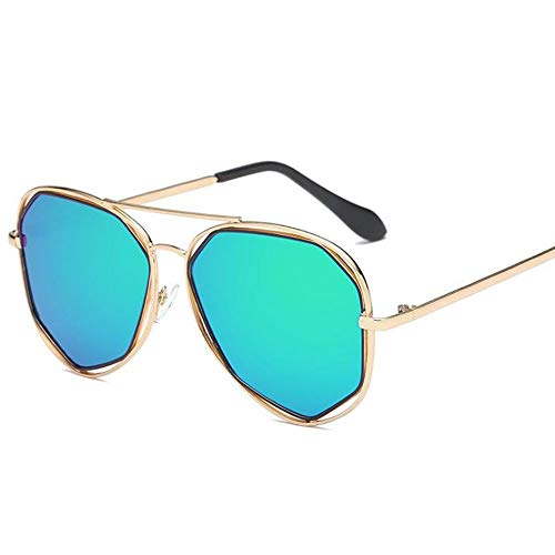Szblk Sonnenbrille Polarisierte Sonnenbrille Fahrsonnenbrille Sonnenspiegel Metallsonnenbrille Angelsonnenbrille Fashion Retro Polygon (Color : Green)