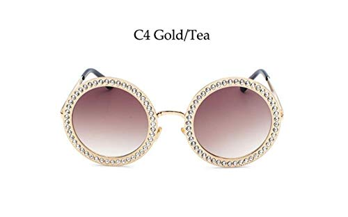 KONGYUER Sonnenbrillen, Brillen,Weißer Cryetal Tee Luxus Metall Runde Sonnenbrille Mit Kristall Luxus Marke Retro Runde Sonnenbrille Weibliche Strass Shades Uv400